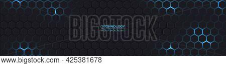 Dark Grey And Blue Horizontal Hexagonal Technology Abstract Vector Background. Blue Bright Energy Fl