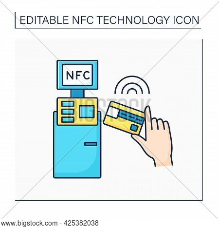Nfc Color Icon. Safety Credit Card Payment. Paying Bills. Bank Terminal. Near Field Communication. C