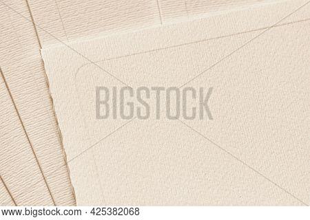 Texture Of Vintage Beige Postal Cards. Background, Copy Space