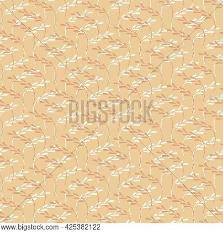 An Ochre Yellow Grassland Seamless Vector Pattern