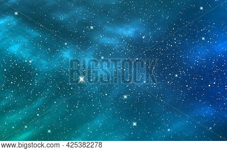 Space Background. Blue Starry Sky. Deep Cosmos With Shining Stars. Cosmic Backdrop With Stardust. Re