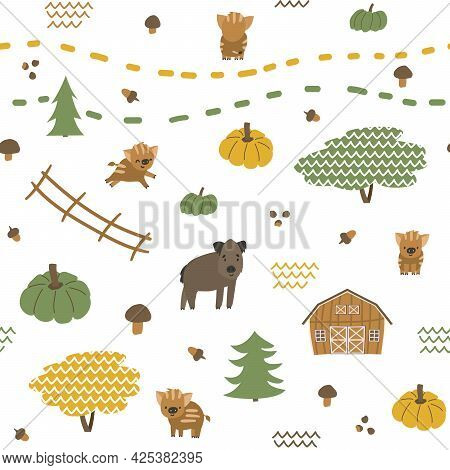 Autumn Seamless Pattern Of Boar, Piglets Family. Vector Childish Illustration Of Hand Drawn Leaves,