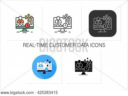 Real-time Customer Data Icons Set. Concentrates On Real-time Data Captured From Clients. Customer Da