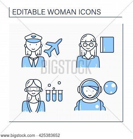 Woman Line Icons Set. Pilot, Astronaut, Professor, Scientist. Successful Woman Concept. Isolated Vec