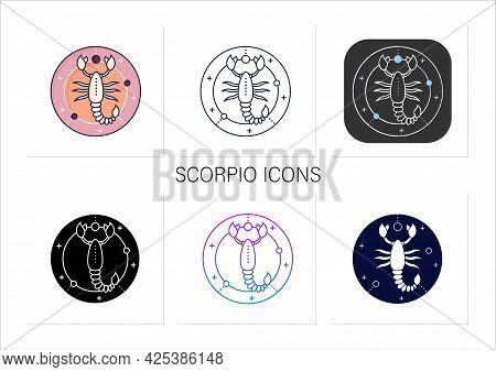 Scorpio Icons Set. Eight Fire Sign In Zodiac. Scorpion Birth Symbol. Mystic Horoscope Sign. Astrolog