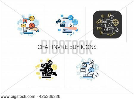 Chat Invite Buy Icons Set. Shares Purchase.communication Application With Friends.invitation Link. I