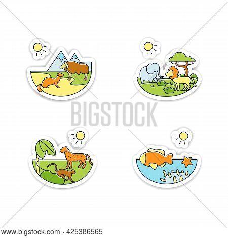 Biodiversity Stickers Icon. Tundra, Tropical Rainforest, Savanna, Coral Reef Badge For Designs. Biod