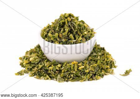 Dried Green Paprika Flakes With Seeds In Bowl, Isolated On White Background. Chopped Jalapeno, Haban