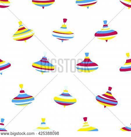 Seamless Vector Pattern Of Peg-top Toys On A White Background