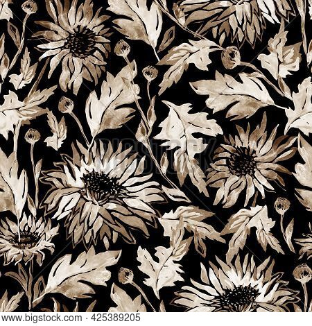 Chrysanthemum Flowers In Earth Calm Colors Seamless Pattern In Warm Halftones On Brawn Background. W
