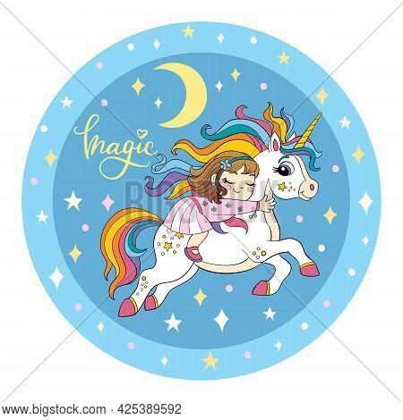 A Cute Girl Is Sleeping On The Back Of A Unicorn. Vector Illustration Circle Shape On Blue Cosmic Ba