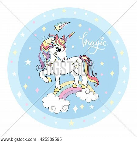 Cute Cartoon White Unicorn Stands On A Rainbow. Vector Illustration Circle Shape On Blue Background.