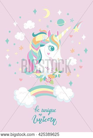 Cartoon White Unicorn With Rainbow And Magic Elements. Vector Vertical Llustration Isolated On Pink