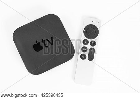 May 29, Rostov, Russia: New Unpacked Apple Tv 4k Console And Siri Remote Control With A Touch-enable