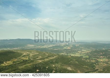 Aerial View Of The Provence Plains And Mountains, Seen From The Top Of Sainte Victoire Mount. Sainte
