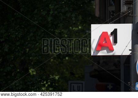 Belgrade, Serbia - May 20, 2021: A1 Telecom Logo On Their Main Shop In Belgrade. A1 Telekom Austria,