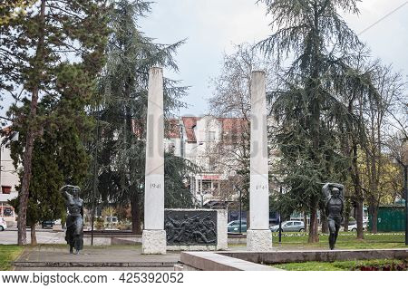 Obrenovac, Serbia - April 4, 2021: Yugoslav Monument Dedicated To The Victims Of World War 2 In The
