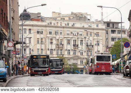 Belgrade, Serbia - April 17, 2021 Belgrade Buses From Gsp Beograd Waiting For Operation In Zeleni Ve