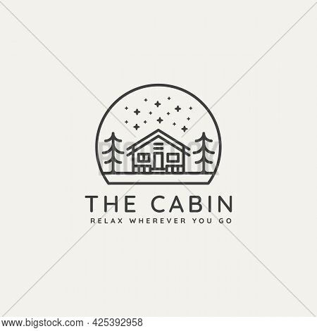 Winter Housing Cabin Minimalist Line Art Badge Logo Template Vector Illustration Design. Simple Mini