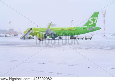 Irkutsk, Russia : 05/03/2020 : The S7 Airline Parking On Airport Runway In Irkutsk International Air