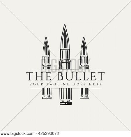 Gun Bullet Ammunition Vintage Logo Template Vector Illustration Design. Classic Retro Hunting, Milit