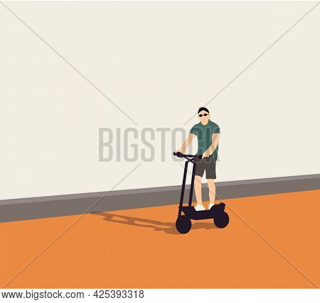 Man Riding Electric Scooter In Urban Background. Ecological Transportation Concept. Vector Character
