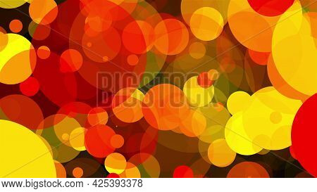 Abstract Multicolored Backdrop With Many Of Big Transparent Circles. Computer Generated 3d Render
