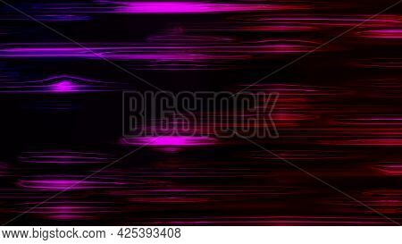 Horizontal Liquid Neon Lines Shimmer In A Smooth Bend. Abstract Computer Generated Background, 3d Re