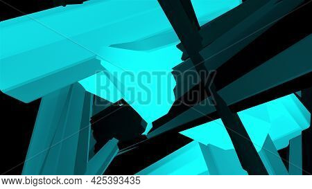 Random Fractal Elements, Close-up, 3d Rendering. Computer Generated Abstract Tangled Background