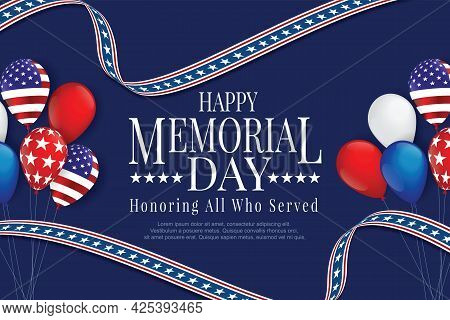 Memorial Day Banner Template With Usa American Balloons Flag Decor.memorial Day Banner Template Cele