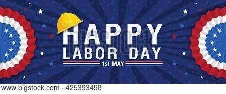 Labor Day Banner Template Decor With American Flag Design .american Labor Day.vector Illustration.