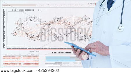 Male doctor using digital tablet against network of connections and medical data processing. medical research and science technology concept