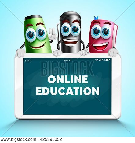 Online Education Vector Design. Online Education Text In Tablet Device And Chalkboard Background Wit