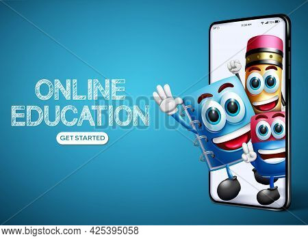 Online Education Vector Banner Design. Online Education Text With Avatar Characters Like Pencil, Not