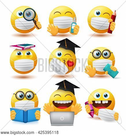 Emoji Covid-19 Students Vector Set. Emojis Student Characters Wearing Face Mask And Holding Educatio