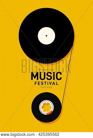Music Festival Poster Design Template Background With Vinyl Record And Cassette Tape. Design Element