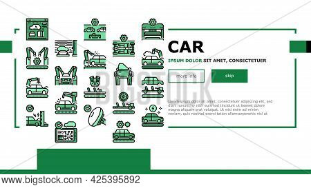 Car Factory Production Landing Header Vector. Car Factory Equipment And Conveyor For Welding Parts A