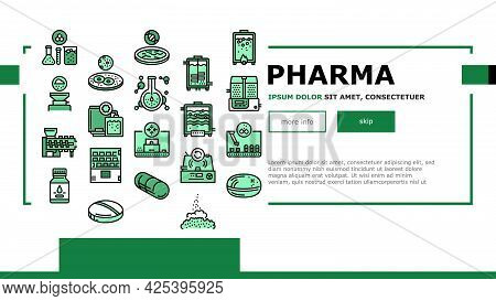 Pharmaceutical Production Factory Landing Header Vector. Laboratory Manufacturing Pharmaceutical Pro