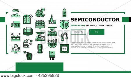 Semiconductor Manufacturing Plant Landing Header Vector. Installation Semiconductor On Board And Tes