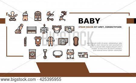 Baby Shop Selling Tool Landing Header Vector. Baby Diaper And Sterilizer Bottles Device, Newborn Edu