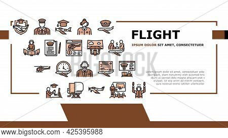 Flight School Educate Landing Header Vector. Flight Courses Education For Prepare Pilot And Air Navi