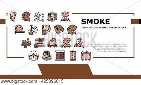 Smoke And Fog Steam Landing Header Vector. Transport Car And Urban, Vape And Tobacco Smoke, Air Puri