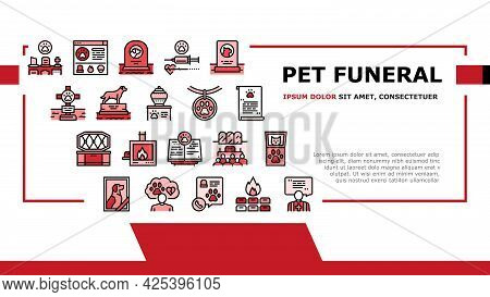 Pet Funeral Cemetery Landing Header Vector. Pet Funeral Ceremony And Prayer, Individual And Collecti