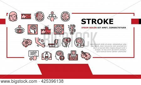 Stroke Health Problem Landing Header Vector. Surgical Operation Brain Stroke Treat And Injection, Di