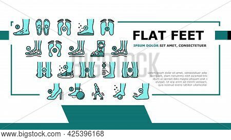 Flat Feet Disease Landing Header Vector. Orthopedic Insoles And Shoes, Inward And Outward Curvature
