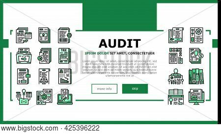 Business Finance Audit Landing Header Vector. Comparative Analysis And Tax Accounting, Audit Of Annu