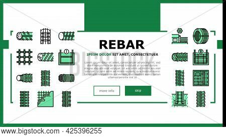 Rebar Construction Landing Header Vector. Threaded And Hardened Steel Fittings, Metal And Basalt Reb