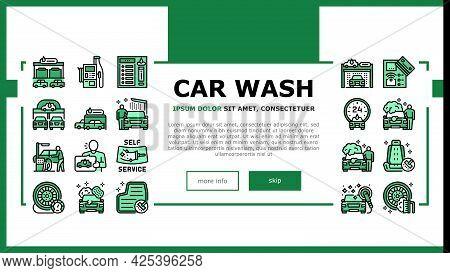 Self Service Car Wash Landing Header Vector. Non Contact Car Wash Station And Equipment, Washing Car