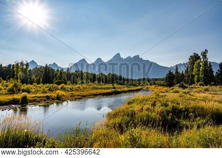 An Overlooking Landscape View Of Grand Teton National Park, Wyoming