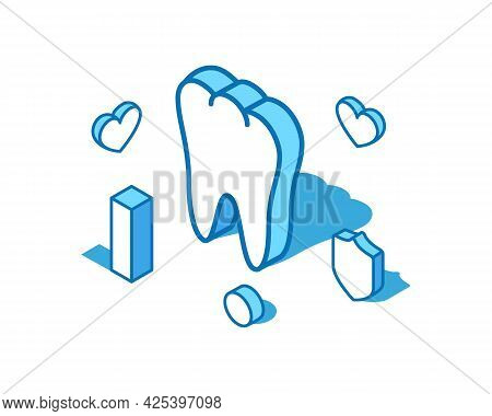 Tooth Blue Line Isometric Illustration. Healthy Internal Organ 3d Banner Template.